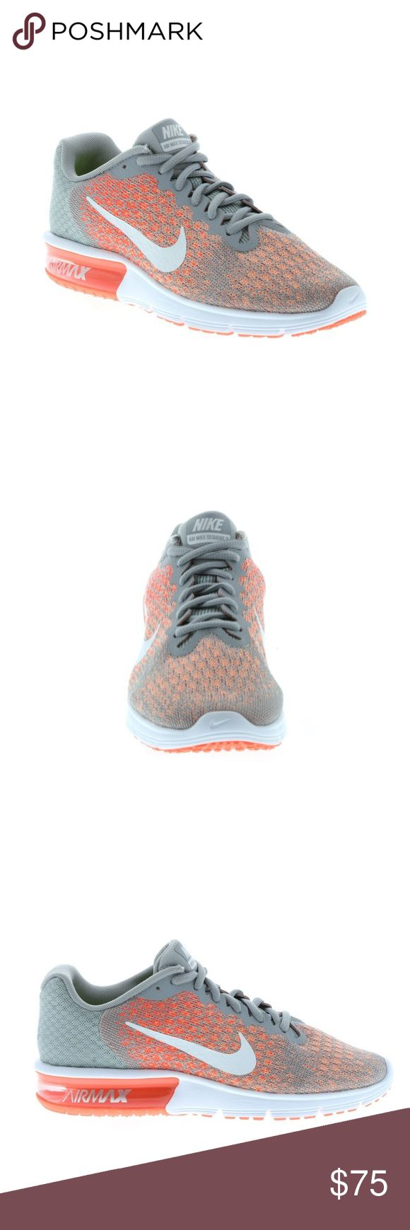 Nike Air Max Sequent 2 Wolf Grey/White/Bright Mango/Sunset Glow   Set your stride in alignment in the lightweight performance and cushioning shoe. Neutral to underpronation (supination).     Shoe features an engineered knit upper that's flexible closer to your toe, while lending more support throughout the foot. A Max Air heel unit lends responsive cushioning for miles. Articulated grooves enhance forefoot flexibility Foam midsole for lightweight cushioning and comfort Rubber outsole for…
