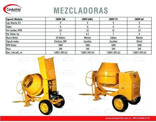 MEZCLADORA DE CONCRETO ELECTRICA - CIMAR - CM9P-3M