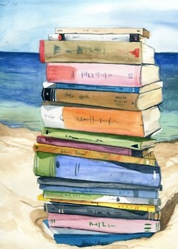 Summer reading at the beach. This would be a great poster to frame and hang in my beach house, the house that I can only dream of having. Hey, I am on my way, I have a picture picked out already. -kjk