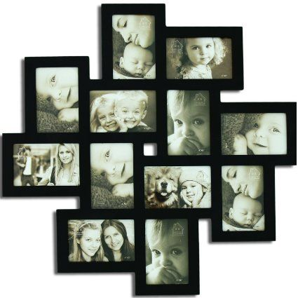DecentHome Wall Hanging Collage Frame, 4 x 6 Inches (12 Openings Black)