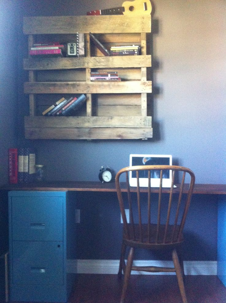 Found some old cabinets on the side of the road along with the wooden pallet, cleaned them up, fresh coat of paint and there I have my new desk and bookshelf!