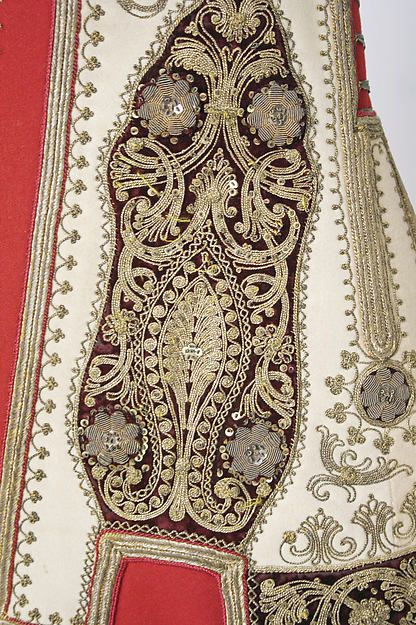 Close-up of the embroideries on a sleeveless 'pirpiri'-like coat for women.  From northern Greece, ca. late 19th century.  (Met Museum, N.Y.)