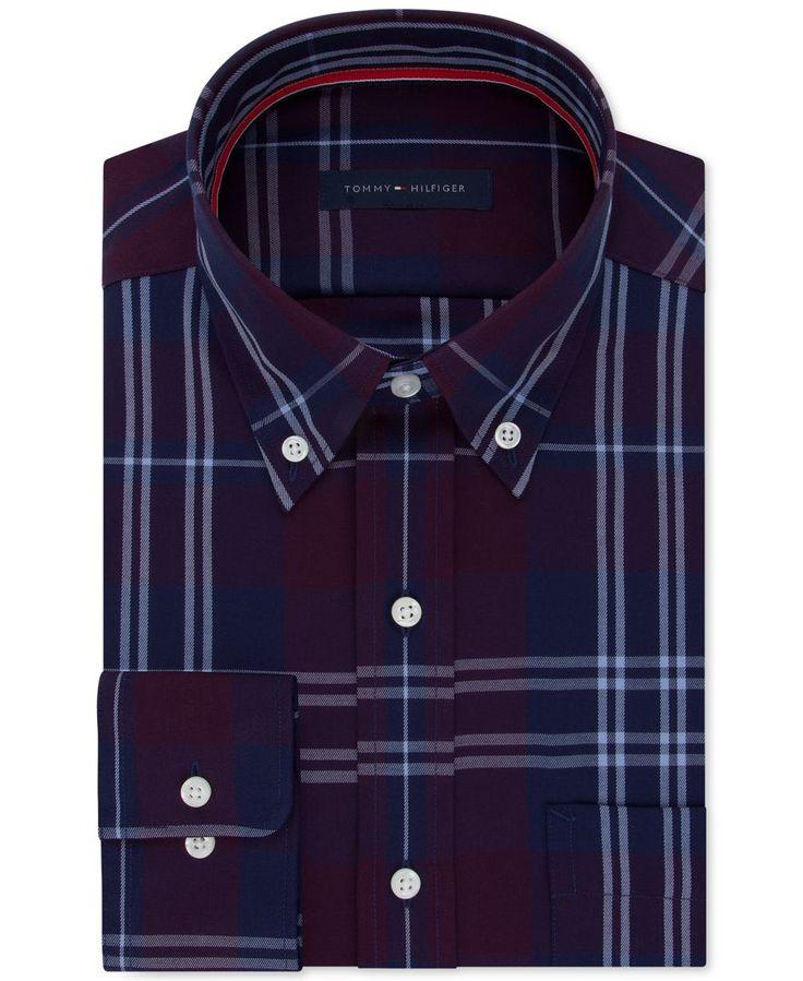 Tommy Hilfiger Men's Classic/Regular Fit Purple Check Dress Shirt