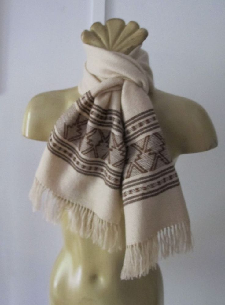 Hand woven SCARF Beige brown pattern ends Fringe WOOL Handmade Vintage Hipster ♫