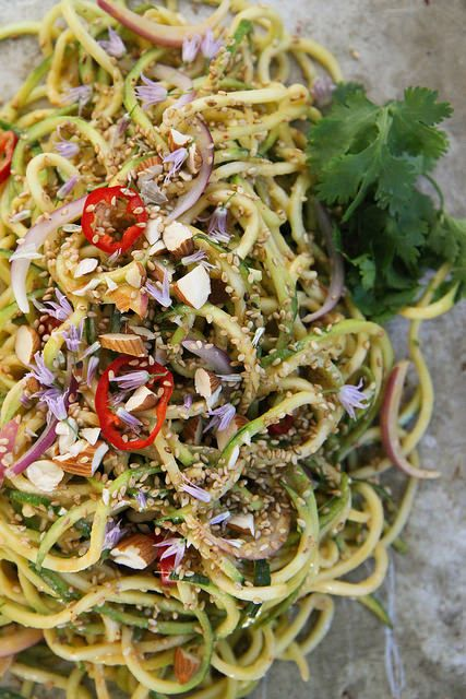 Thai Zucchini Noodle Salad, perfectly simple side dish! @heatherchristo #zoodle