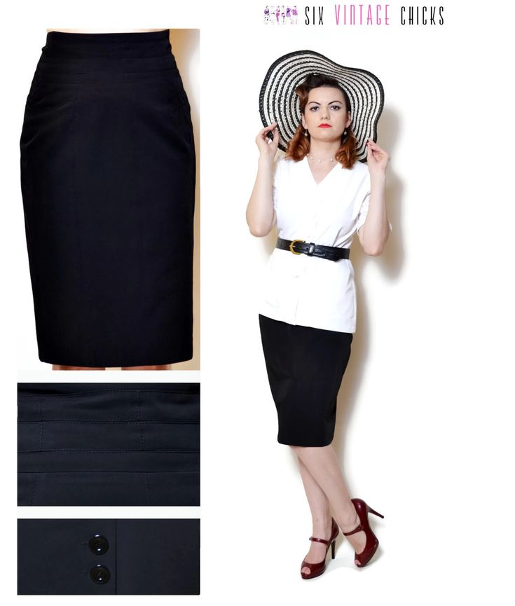 Pencil Skirt Women high waisted evening women clothing office clothes black midi skirt 90s clothing vintage sexy gifts minimalist Size M by SixVintageChicks on Etsy