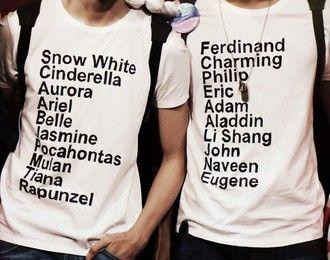 white t-shirt clothes disney princess prince snow white cinderella aurora the little mermaid belle jasmine pocahontas mulan tiana rapunzel t-shirt quote on it graphic tee hipster wishlist valentines day gift idea