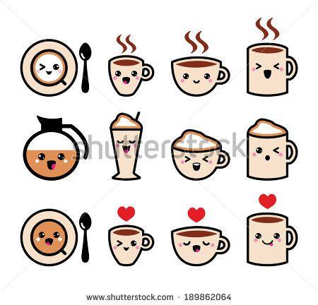 Cute coffee, cappuccino and espresso kawaii icon set - vector - stock vector