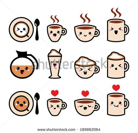 Cute coffee, cappuccino and espresso kawaii icon set - vector  - stock vector