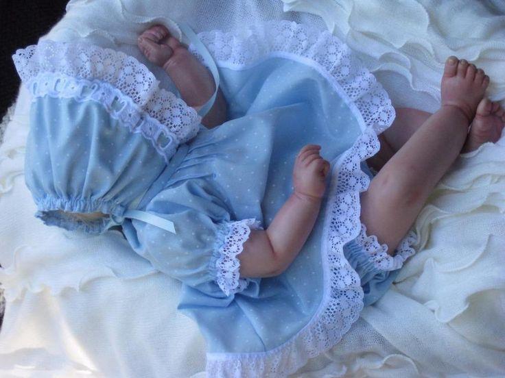 OOAK SET Fits 17-19 inch Reborn Doll - DRESS-PANTIES-BONNET- Hand Made clothing