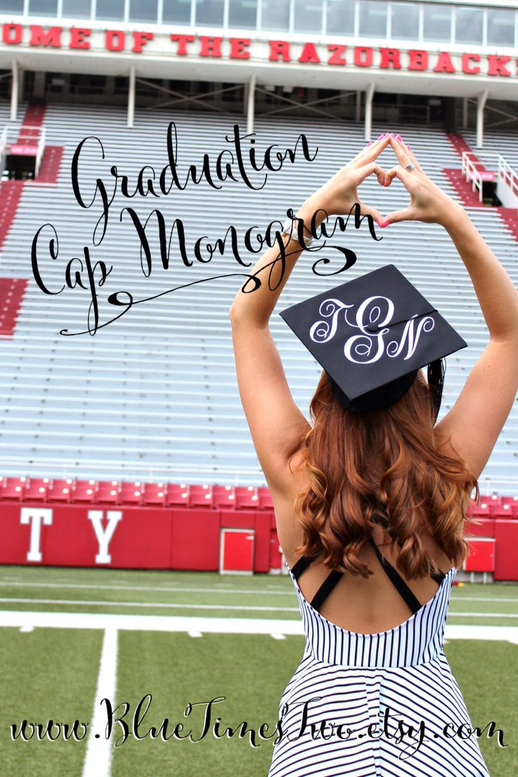 "Large 8"" Monogram Decal - DIY Graduation Cap Monogram by BlueTimesTwo on Etsy https://www.etsy.com/listing/227545510/large-8-monogram-decal-diy-graduation"