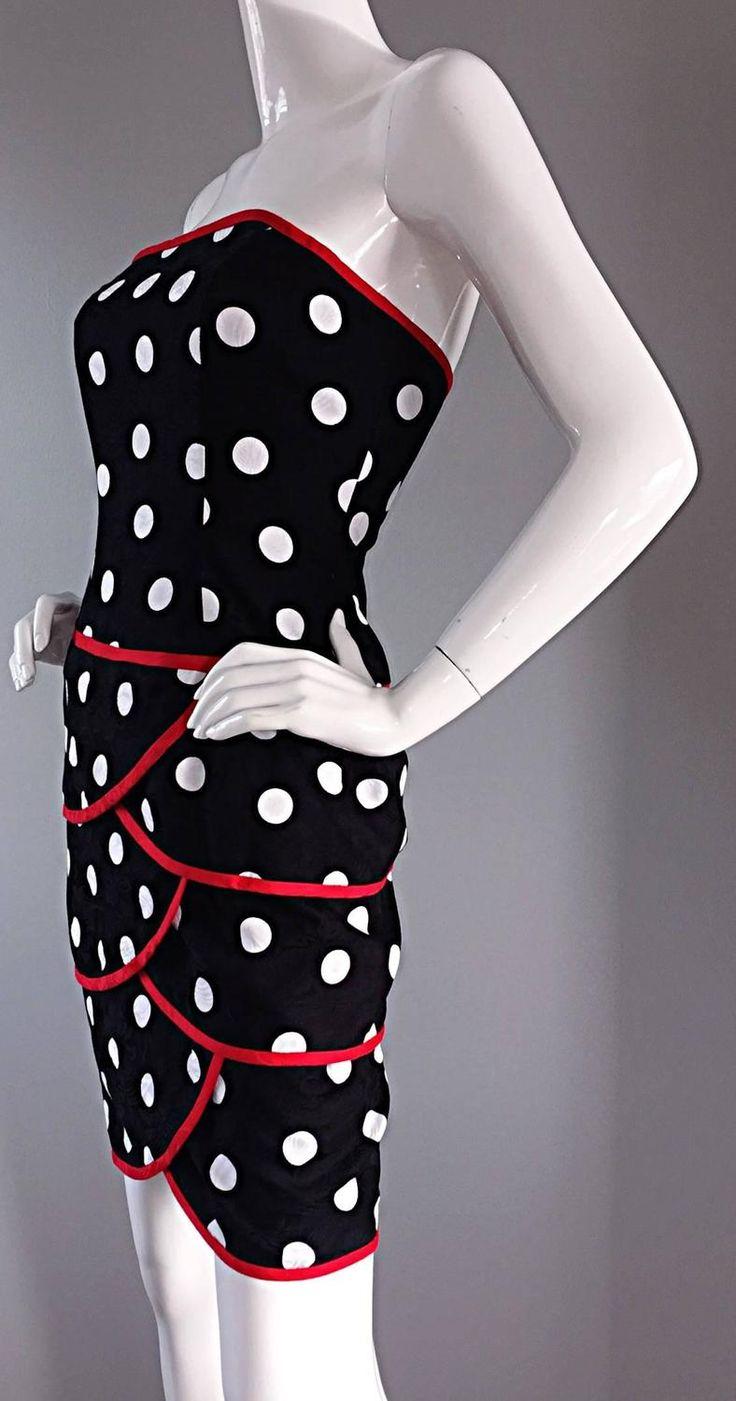 Black dress neiman marcus - Vintage A J Bari For Neiman Marcus Black And White Polka Dot Dress W Red Trim