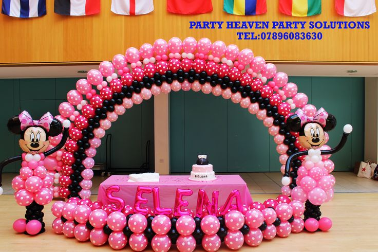 Minnie mouse balloon arch globos pinterest arches for Balloon decoration minnie mouse