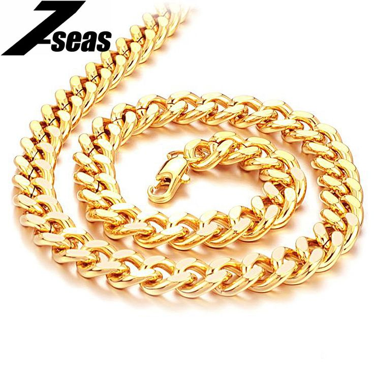 7SEAS Shining Gold Color Men Chain Necklace Fashion Jewelry Overlord Necklace For Cool Men Best Gifts JM440