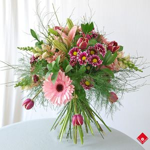 Parisian Spring Bouquet Featuring Lily, Snapdragon, Daisy and Tulip
