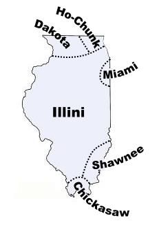 Map of Illinois tribes in the past