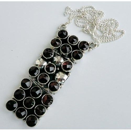 925 Sterling Silver Necklace 18''Garnet Gemstone Jewelry-668