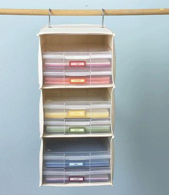 Sweater shelf repurposed for paper storage