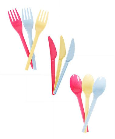 Look what I found on #zulily! Yellow, Blue & Pink Cutlery Set #zulilyfinds
