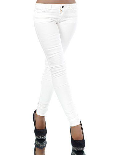 cool L361 Damen Jeans Hose Hüfthose Damenjeans Hüftjeans Röhrenjeans Röhrenhose Röhre, Farben:Weiß;Größen:40 (L)