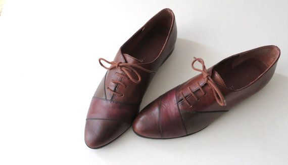 Vintage Leather Oxfords Maroon Brown Autumn by almondtreevintage, $50.00