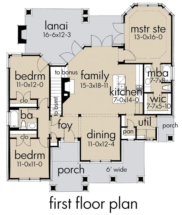 Craftsman Style House Plan - 3 Beds 2 Baths 1421 Sq/Ft Plan #120-174 Floor Plan - Main Floor Plan - Houseplans.com