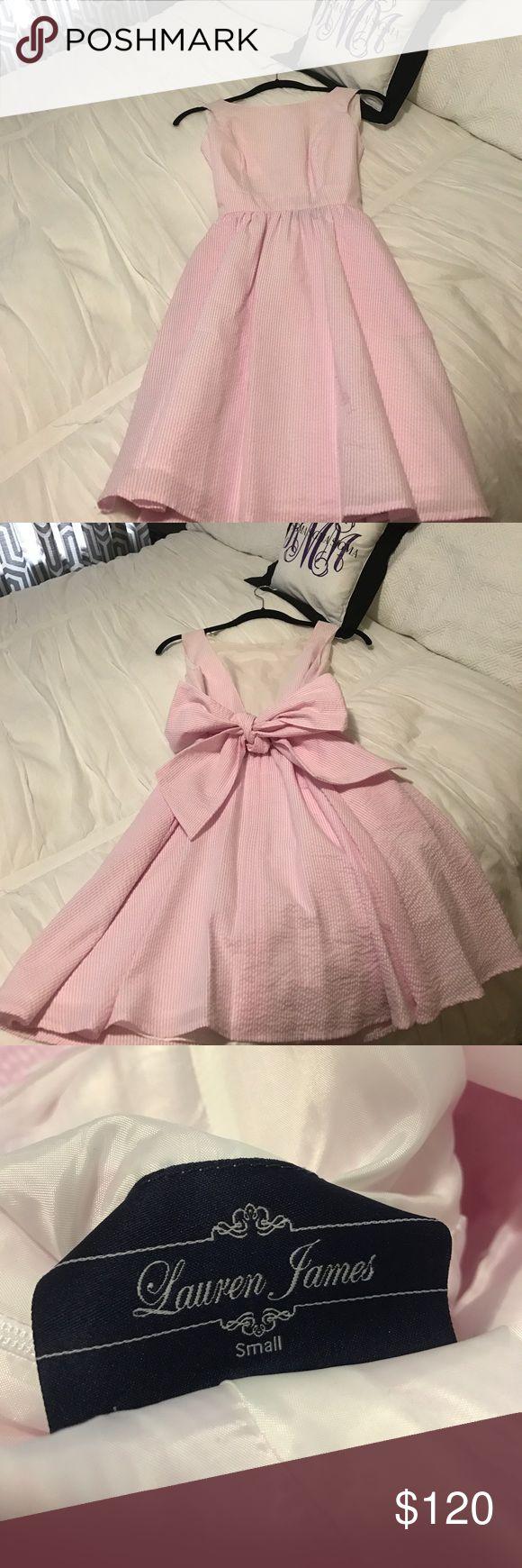 Lauren James Emerson Seersucker V-back Dress Never Worn. Perfect for Carolina Cup, Derby, etc Lauren James Dresses