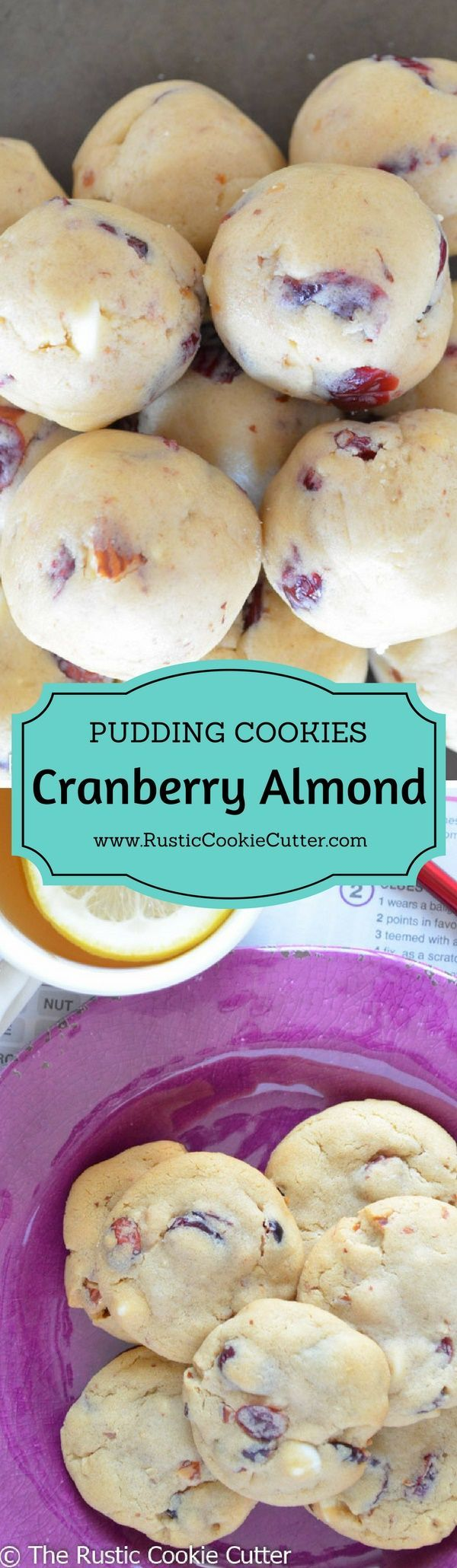 Super Soft & Chewy White Chocolate Pudding Cookies - White Chocolate Almond Cranberry Pudding Cookies