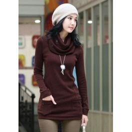 Wine Red Cotton Sweater with Scarf $29.99