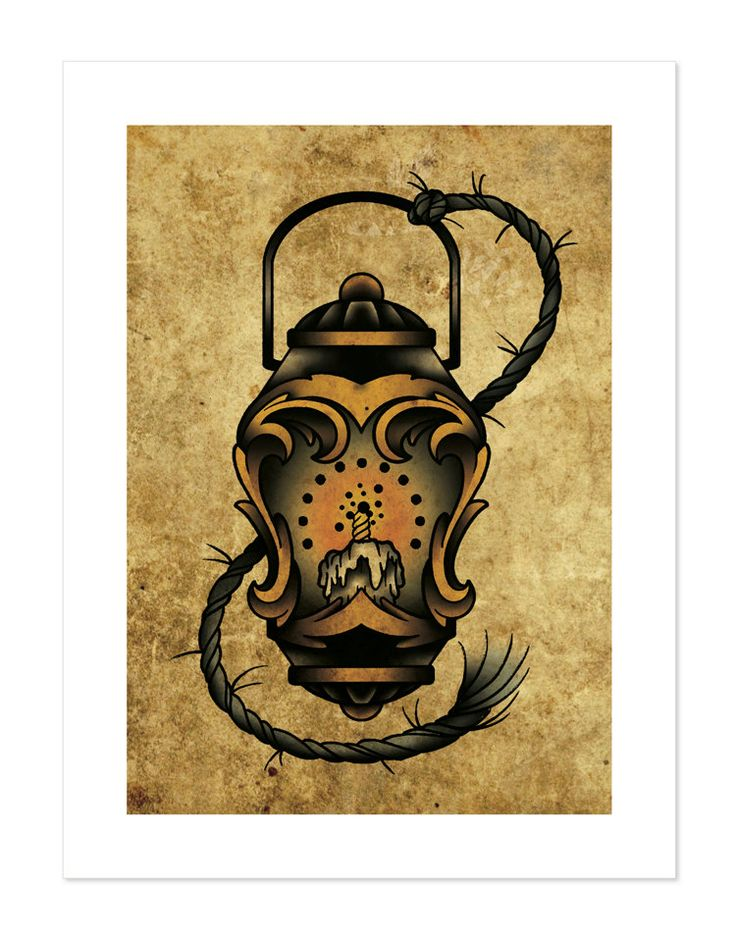 Lantern Neo-Traditional Tattoo Flash Art Print 12x16 by BlackMast