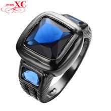 Punk Big Zircon Men Antique Ring Black Gold Filled Cubic Zircon Rings Wedding Bands For Couple anello uomo New Arrival RB0460(China (Mainland))