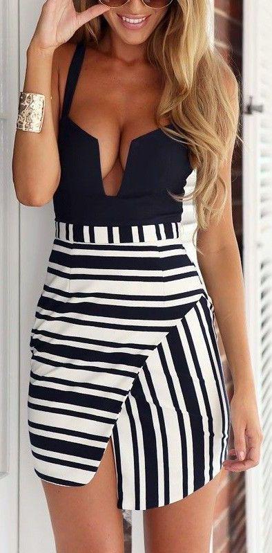Striped Wrap-Style Mini Dress