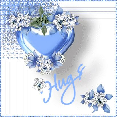 "A LIGHT BLUE HEART THAT HAS FLOWERS THAT SHIMMER AND THE WORD "" Hug "" WRITTEN BELOW IT."