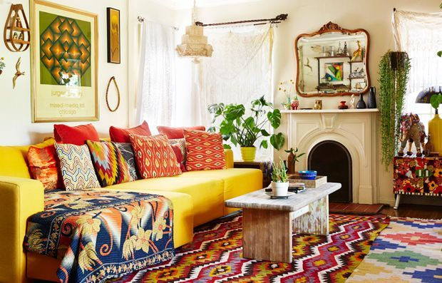 """Nomadic Bohemian. Log & low profile. Turned the chaise sideways? Genius! Creates A longer couch overall, with a subtle """"bump-out"""" on the close corner."""