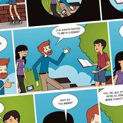 Lav tegneserier med Pixton Comic Maker - Figurer, farver, baggrunde, talebobler... alt kan tilpasses - Et værktøj som f.eks. kan bruges til at lave sociale fortællinger eller til at illustrere kropssprog og mimik med