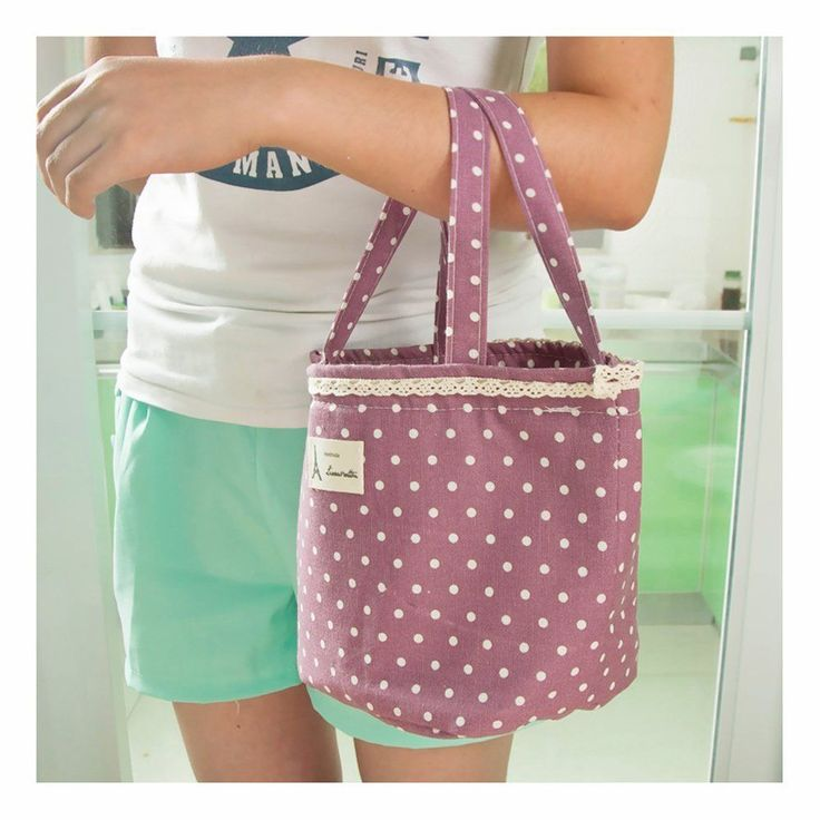 Thermal Insulated Bag Polka Dot Picnic Lunch Bag Storage Pouch Portable Handmade