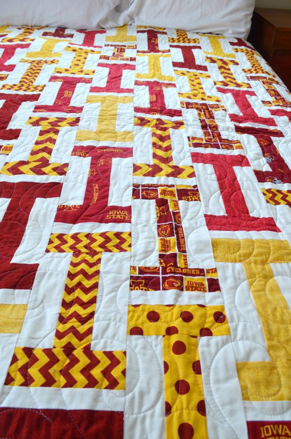 Iowa State Cyclones Quilt by ScrapsCorksandQuilts on Etsy