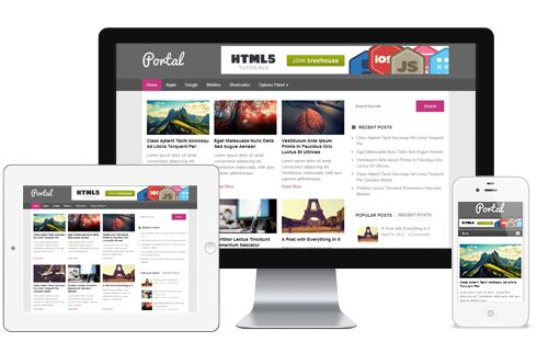 Portal A Free Magazine Blog Responsive WordPress Theme with 3 column Layout