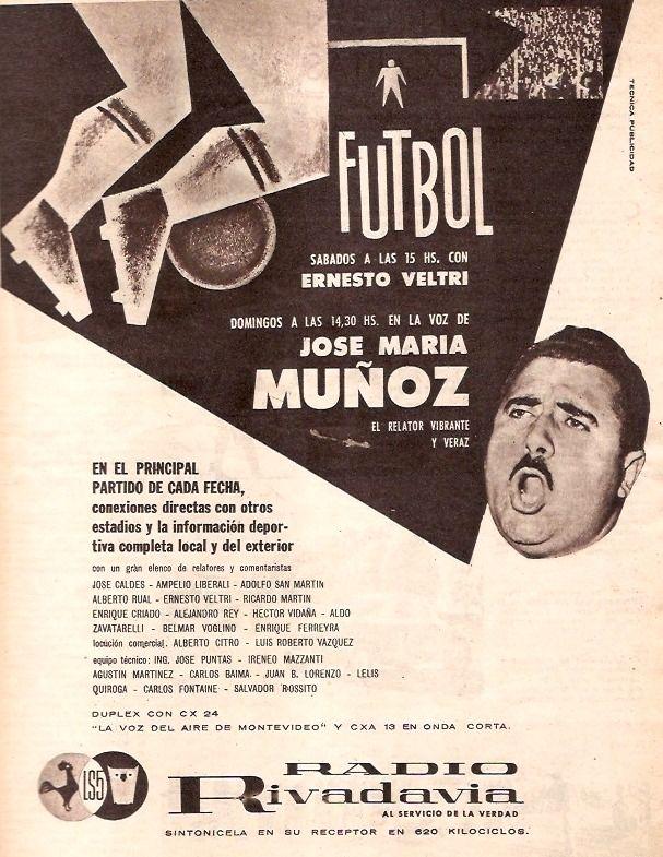José María Muñoz, el relator de América y deportes en RADIO RIVADAVIA, Buenos Aires, 1960.