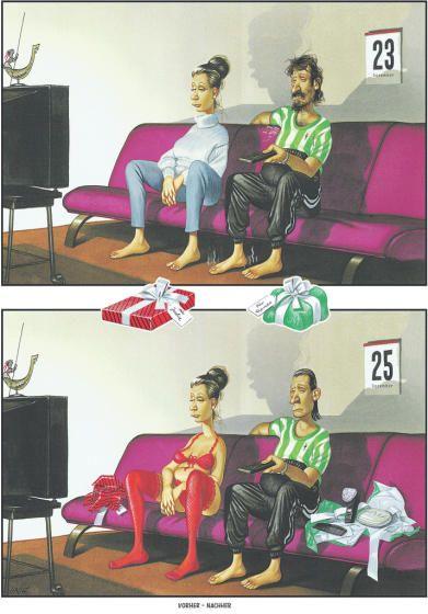 """OÖN-Karikatur vom 24.12.2016: """"Vorher - Nachher"""" Mehr Karikaturen auf: http://www.nachrichten.at/nachrichten/fotogalerien/cme14862,1630095 (Bild: haderer)"""