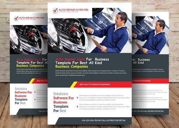 Auto Repair Flyer By Business Templates On Creativemarket Awesome
