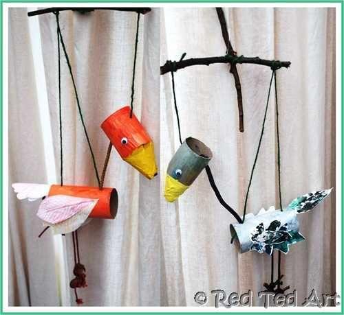 DIY bird marionettes
