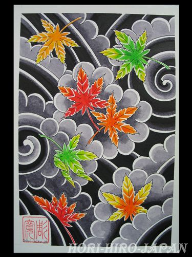 idea from hori-hiro-japan maple leaves/cherry flowers+waves