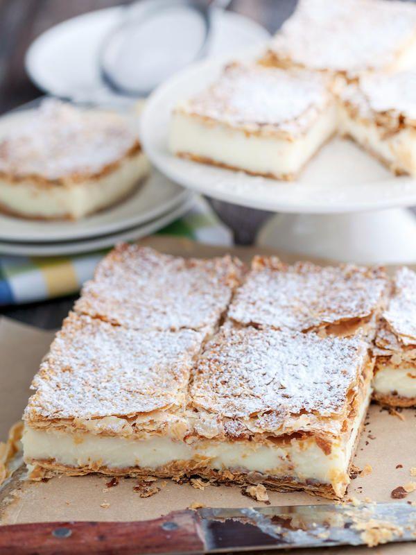 Pastel de hojaldre con crema pastelera  #hojaldre #pasteles #recetas