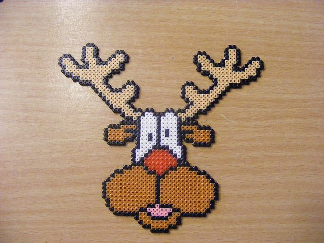 Christmas Rudolf deer hama perler beads by ki-vi