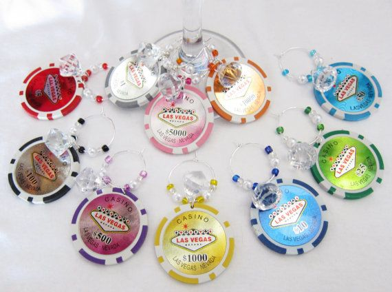 Girls night out -- Las Vegas clay POKER CHIP Wine Charms Diamonds and Pearls -- One set of 10 wine charms on Etsy, $16.99