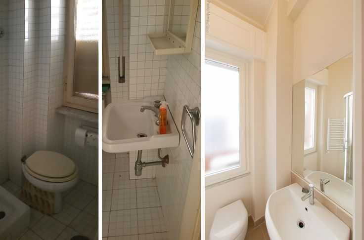 Before and after photos of the bathroom