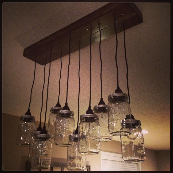 diy pottery barn mason jar chandelier made by my hubby. Black Bedroom Furniture Sets. Home Design Ideas