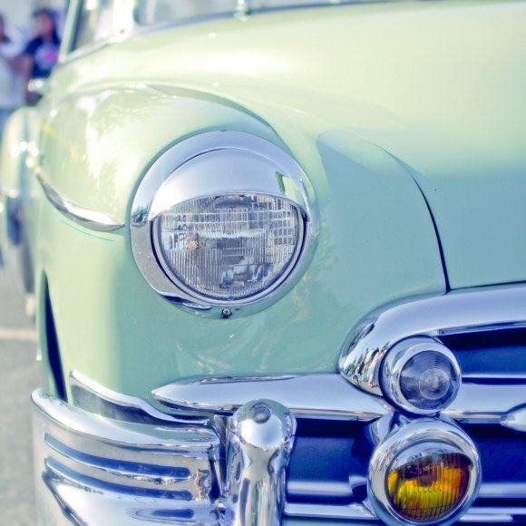 Vintage car photograph -  Mint green photograph Mad Men shiny polished chrome amber yellow light periwinkle blue mid centuryphotography 8x8. $30.00, via Etsy.