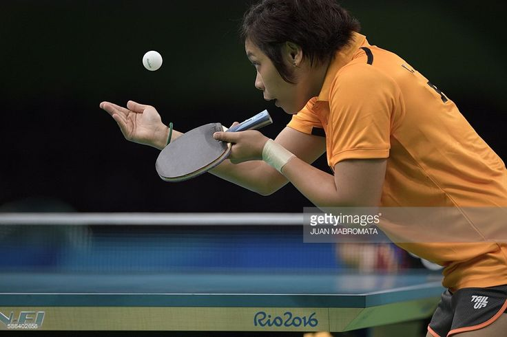 Philippines' Ian Lariba serves in her women's singles qualification round table tennis match at the Riocentro venue during the Rio 2016 Olympic Games in Rio de Janeiro on August 6, 2016. / AFP / Juan Mabromata